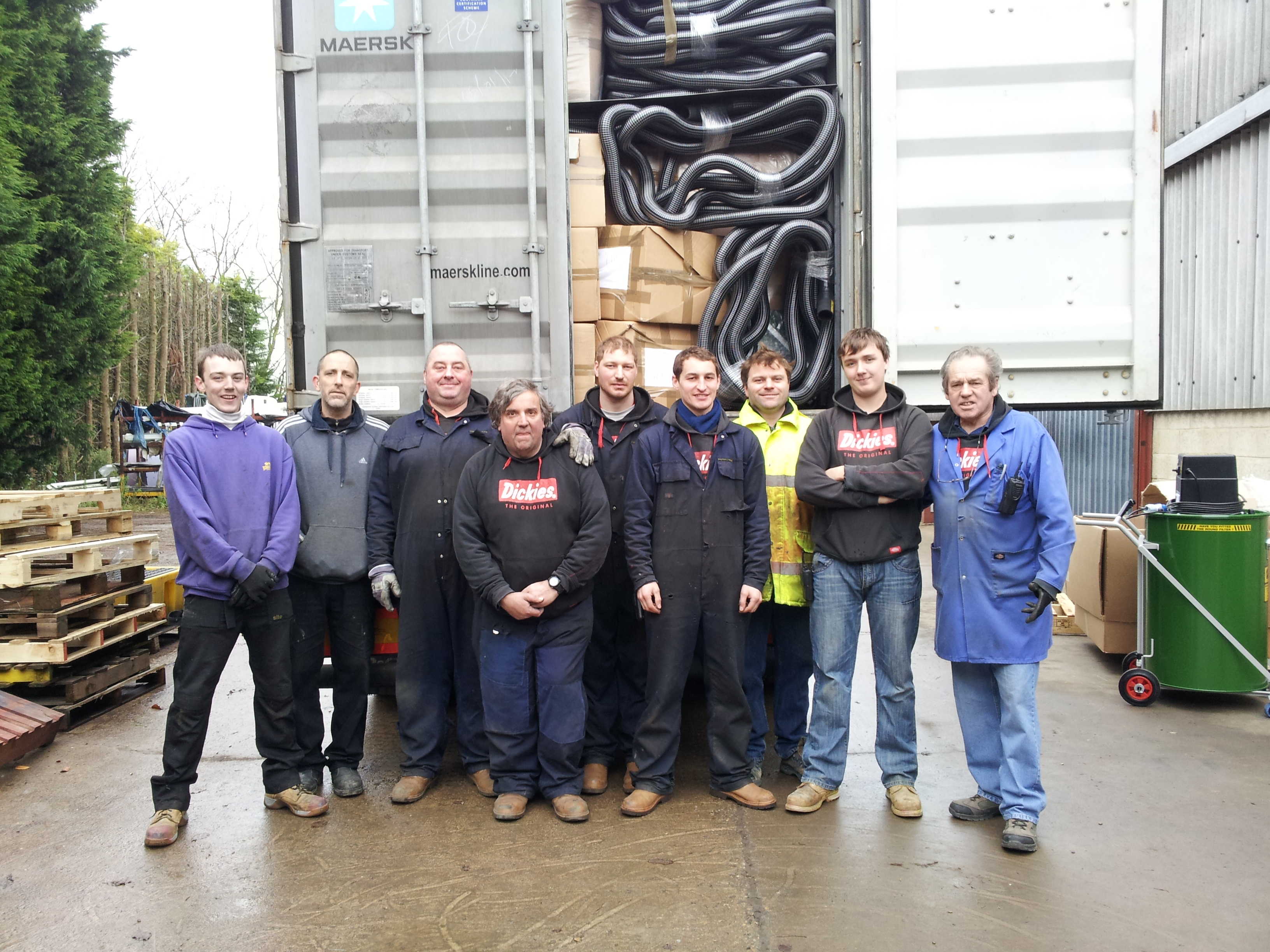 Lads From Michael Williams Engineering Ltd UK Loading Big Brutes Into The Australia Container