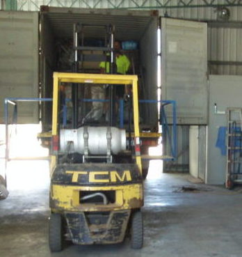 Unloading A Container Of Big Brute Vacuum Cleaners In Perth Australia