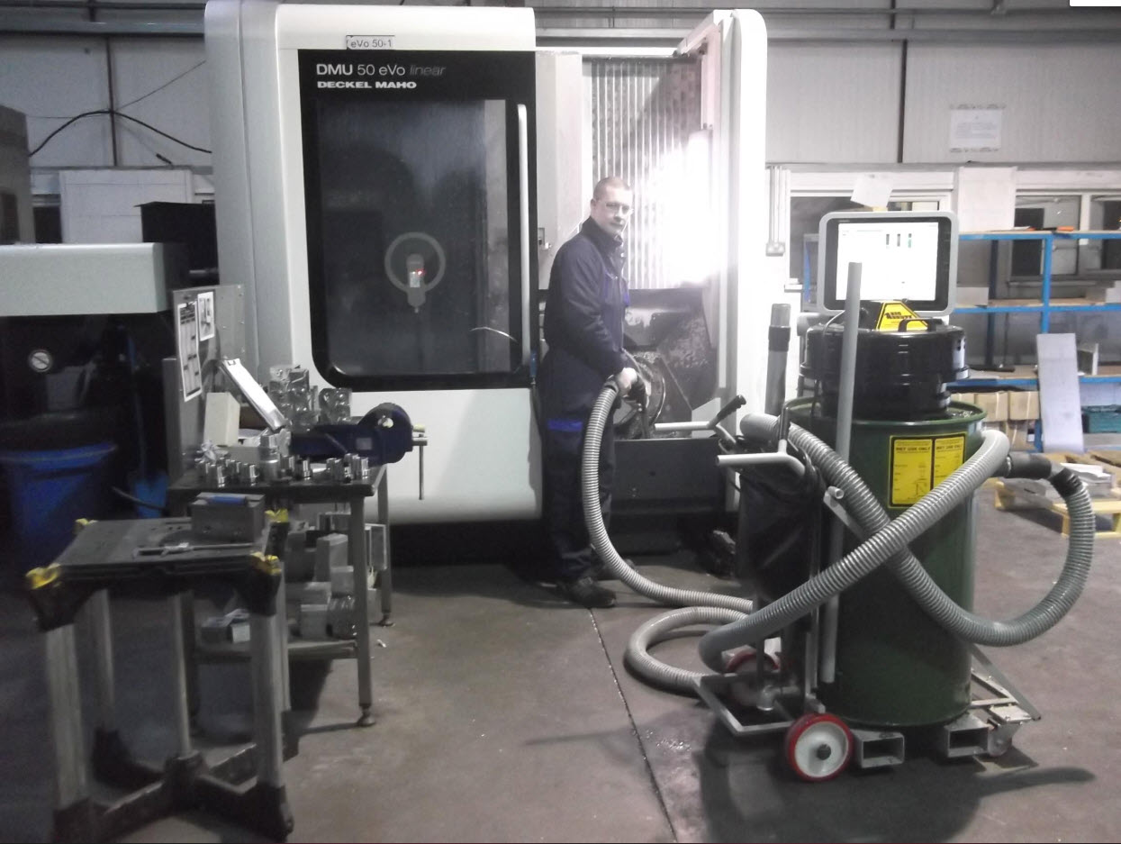 Recovering coolant from 5-axis CNC machines with the Big Brute Swarfman Industrial Vacuum Cleaner