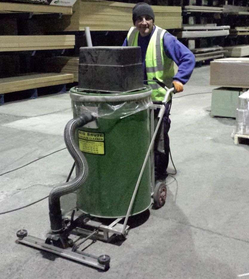 The Big Brute Warehouseman Industrial Vacuum Cleaners make cleaning up wood dust from large floors and around machinery quick and easy.